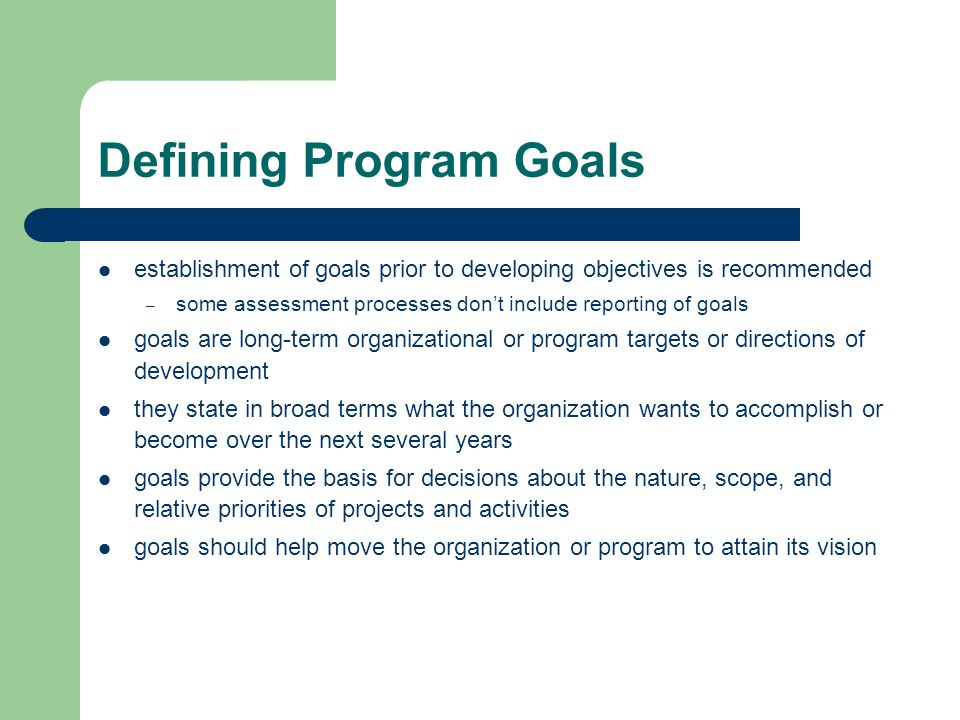 Defining Program Goals