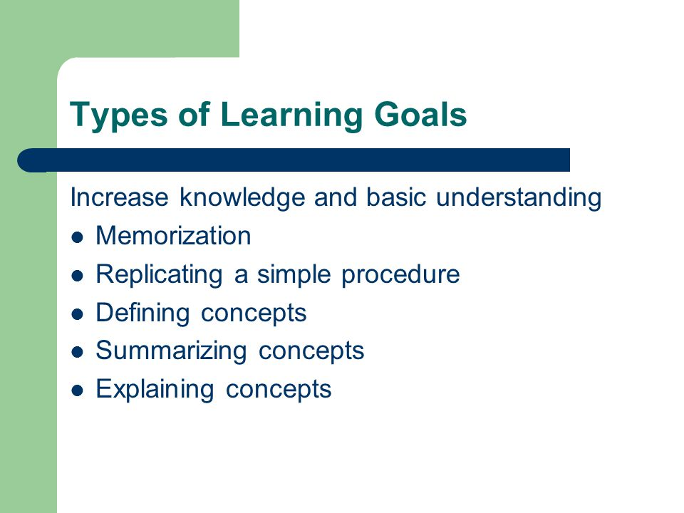 Types of Learning Goals