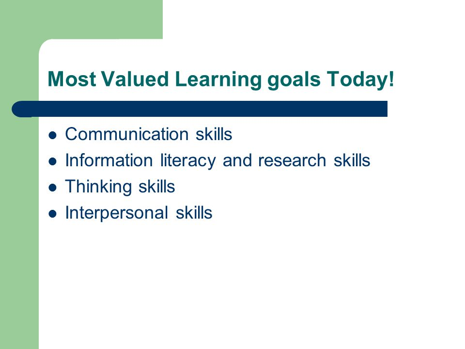 Most Valued Learning goals Today!