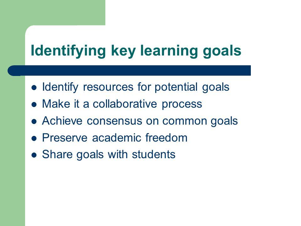 Identifying key learning goals