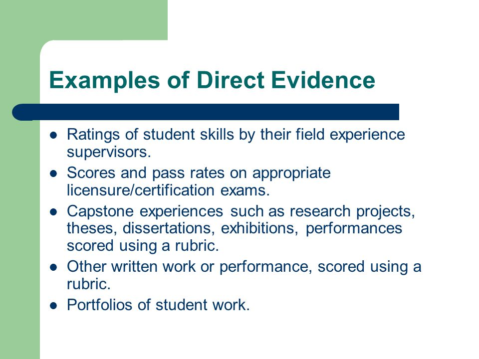 Examples of Direct Evidence