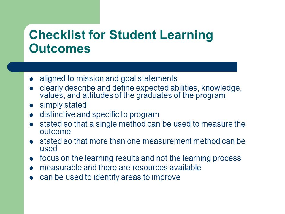 Checklist for Student Learning Outcomes