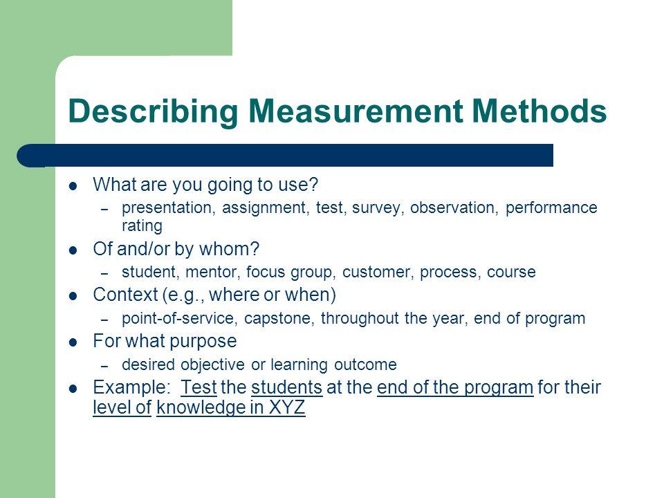 Describing Measurement Methods