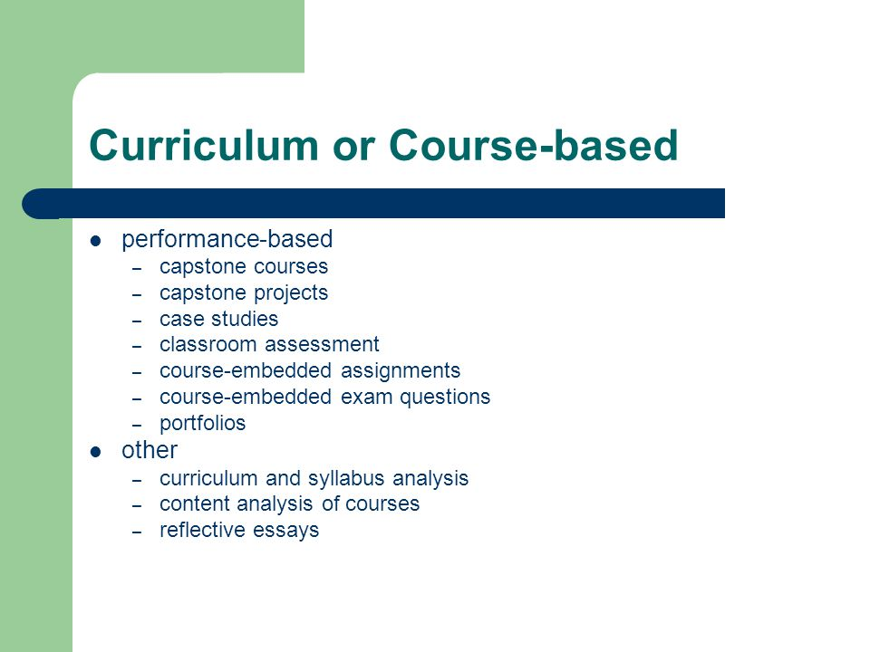 Curriculum or Course-based