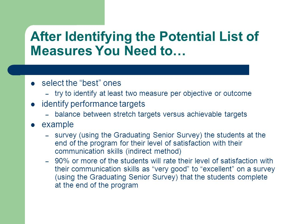 After Identifying the Potential List of Measures You Need to…