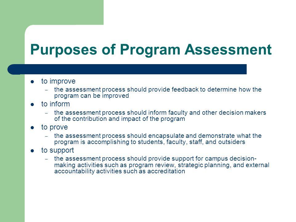 Purposes of Program Assessment