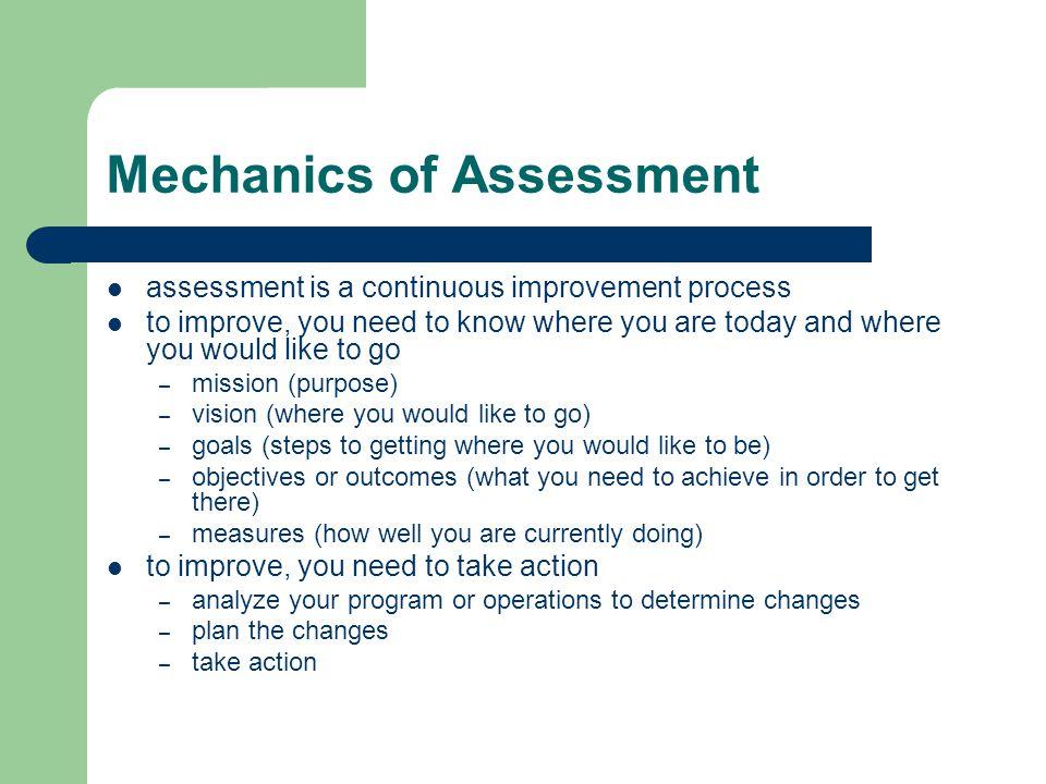 Mechanics of Assessment