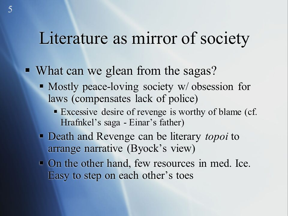 Literature as mirror of society