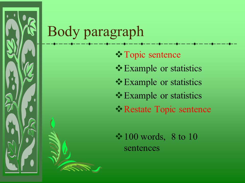 Body paragraph Topic sentence Example or statistics
