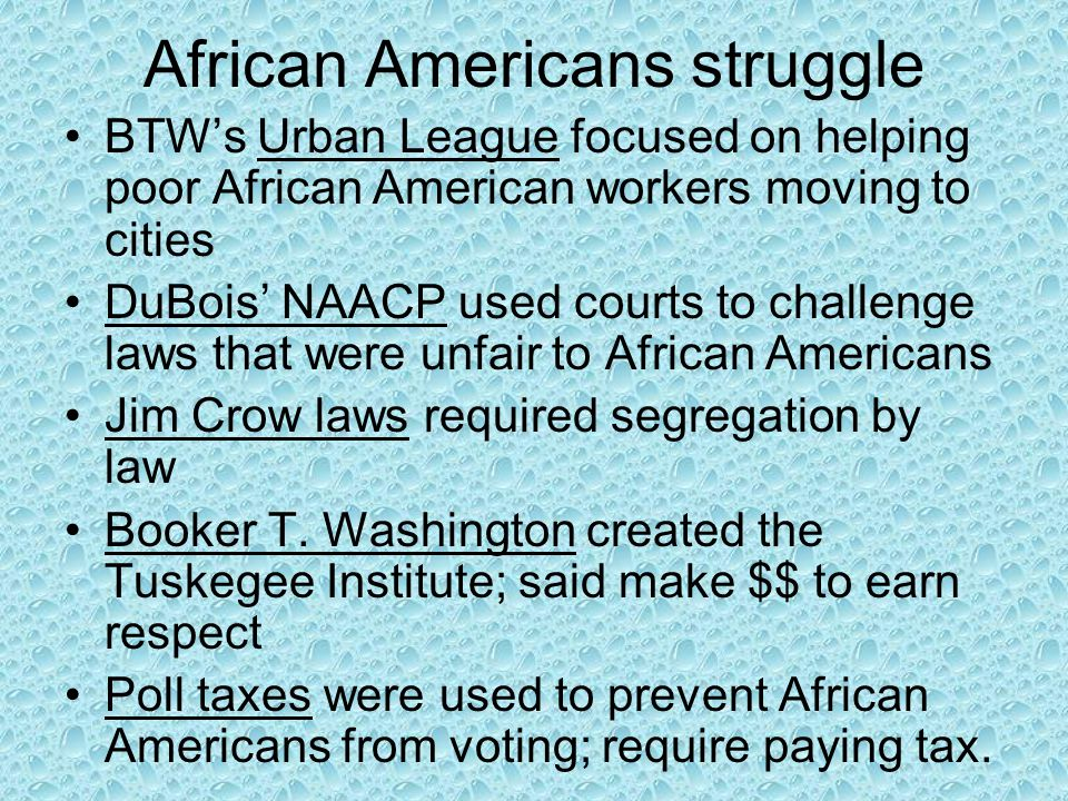 African Americans struggle