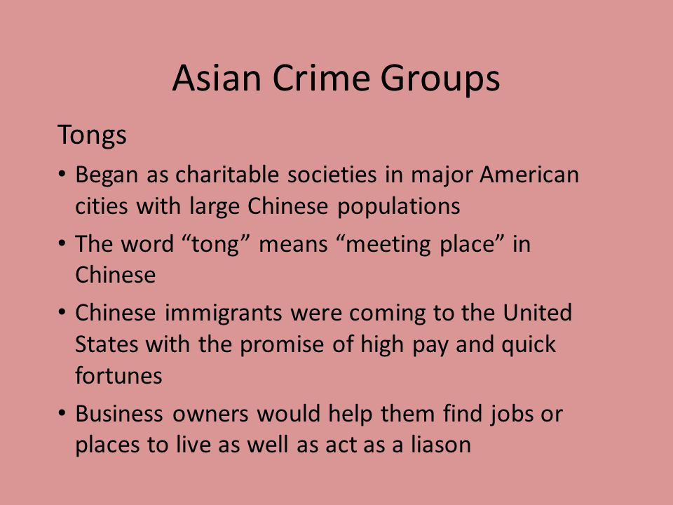 Asian Crime Groups Tongs