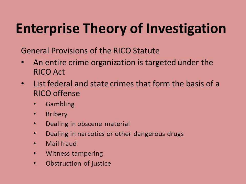 Enterprise Theory of Investigation