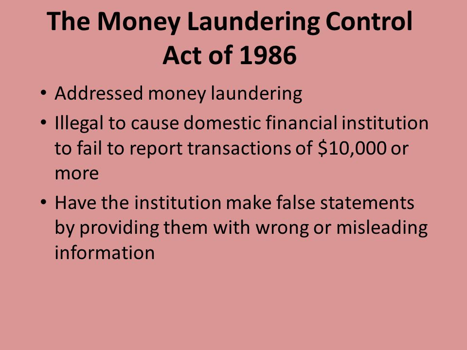 The Money Laundering Control