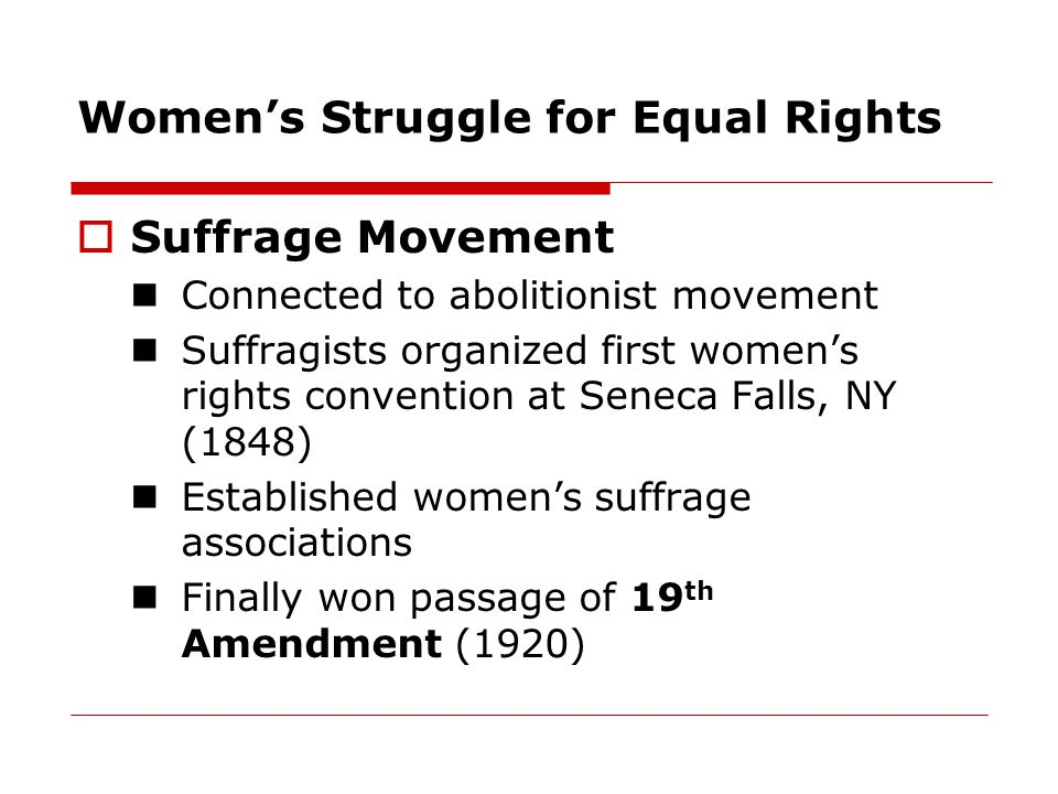Women's Struggle for Equal Rights