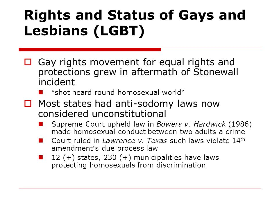 Rights and Status of Gays and Lesbians (LGBT)