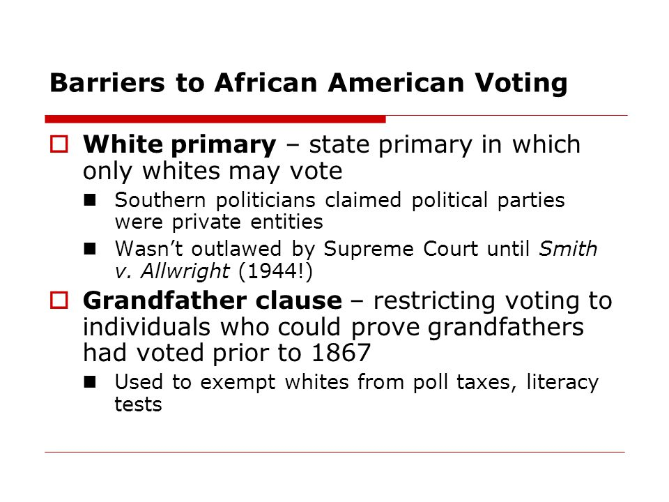 Barriers to African American Voting