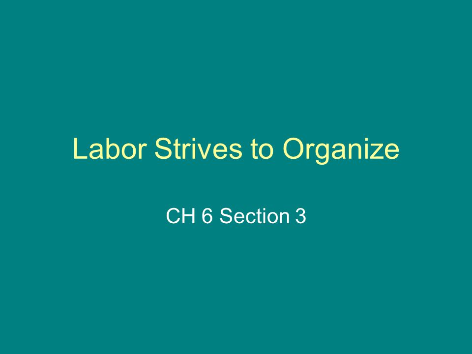 Labor Strives to Organize