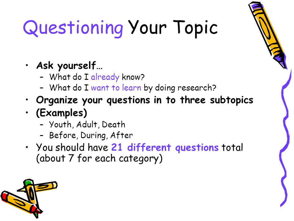 Questioning Your Topic