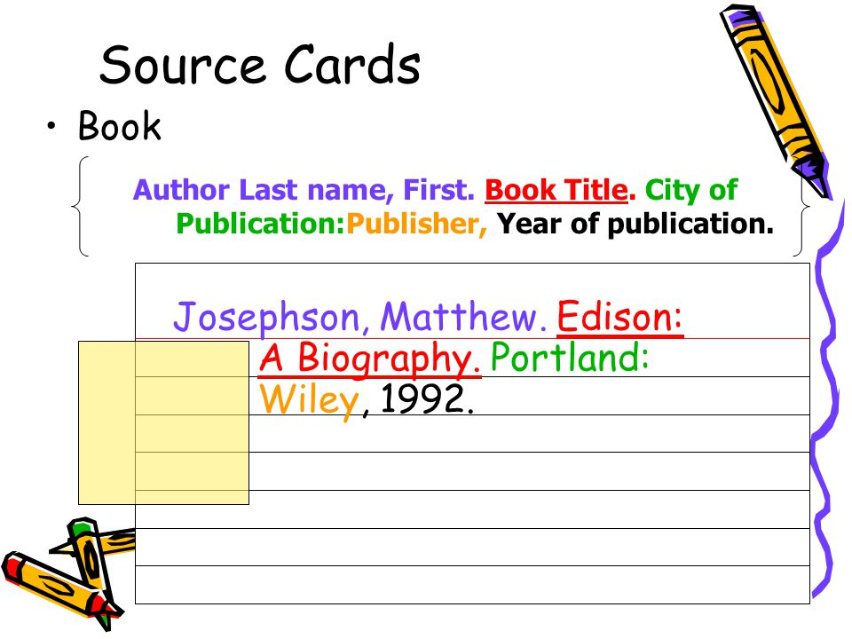 Source Cards Book. Author Last name, First. Book Title. City of Publication:Publisher, Year of publication.