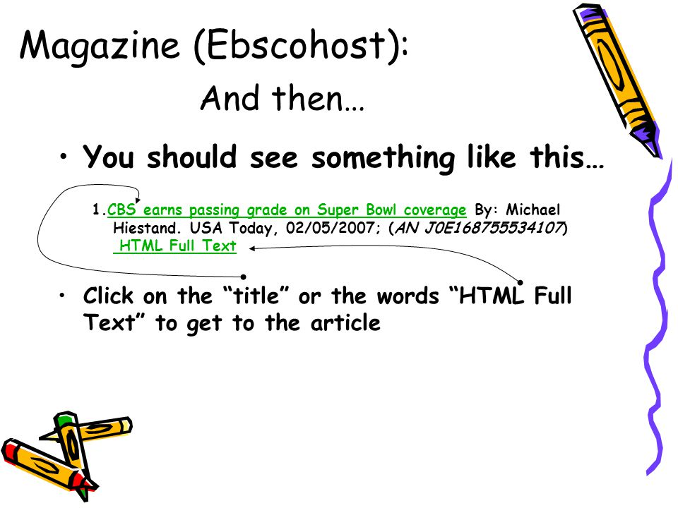 Magazine (Ebscohost): And then…