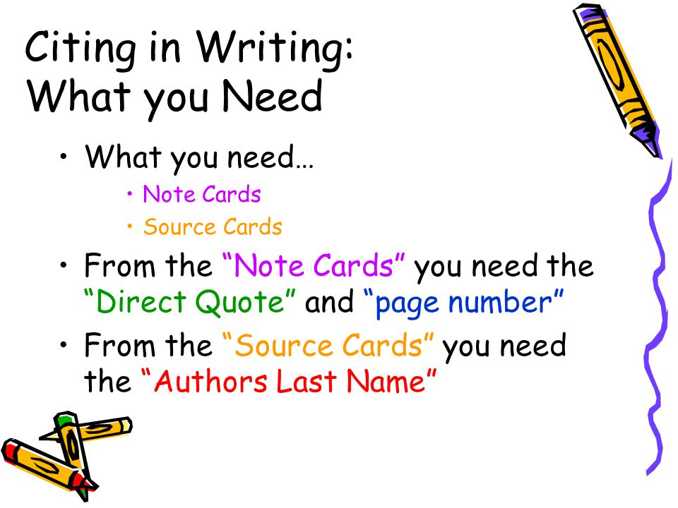Citing in Writing: What you Need