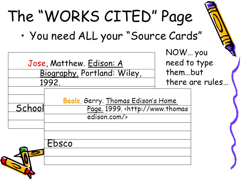 The WORKS CITED Page You need ALL your Source Cards