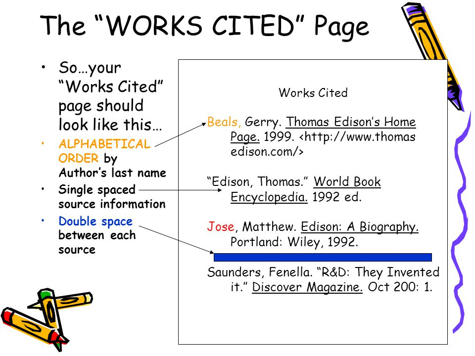 The WORKS CITED Page So…your Works Cited page should look like this… ALPHABETICAL ORDER by Author's last name.