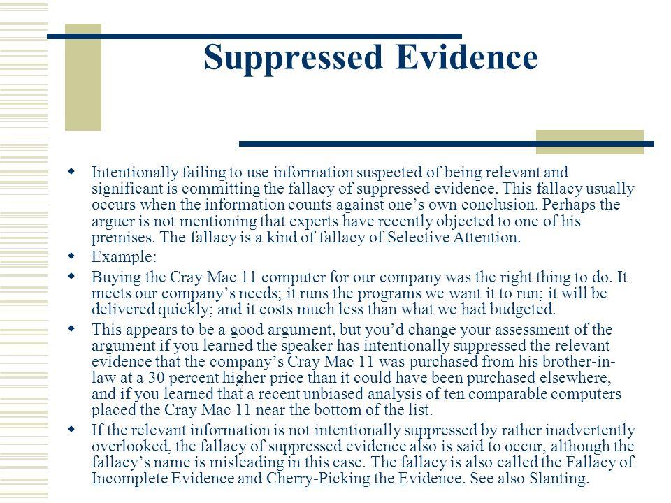 Suppressed Evidence