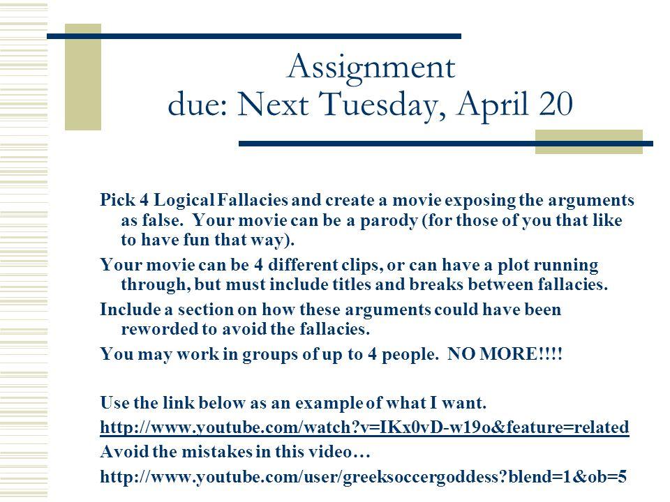 Assignment due: Next Tuesday, April 20