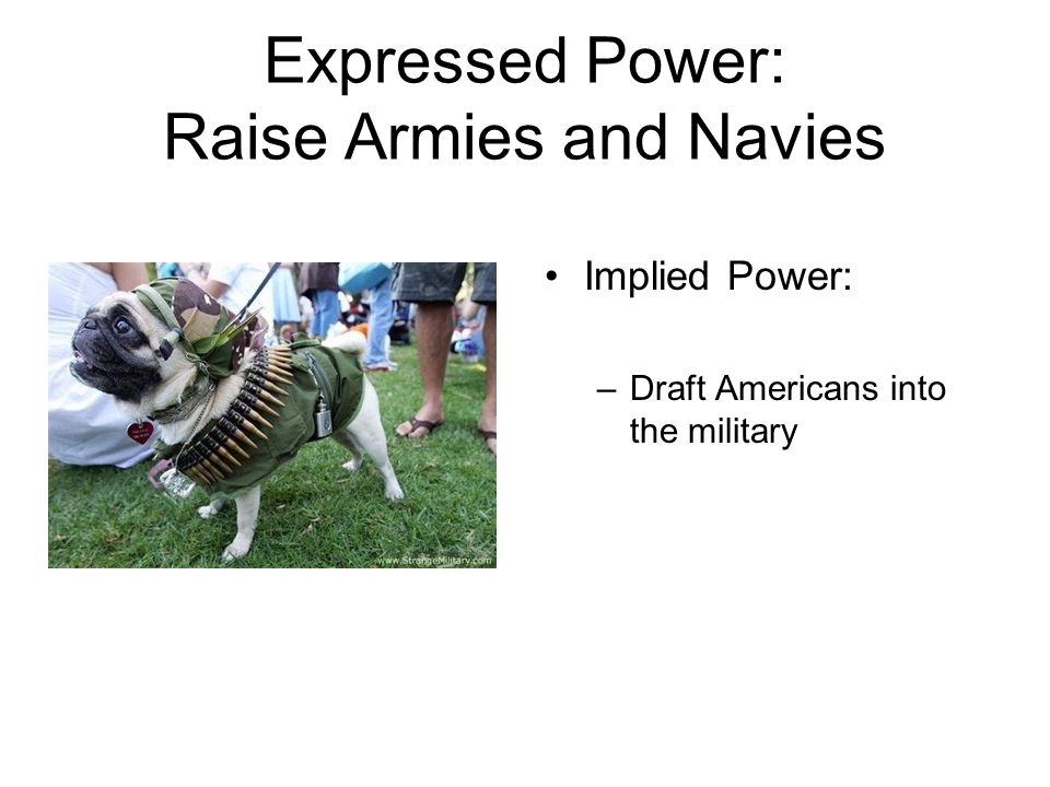 Expressed Power: Raise Armies and Navies