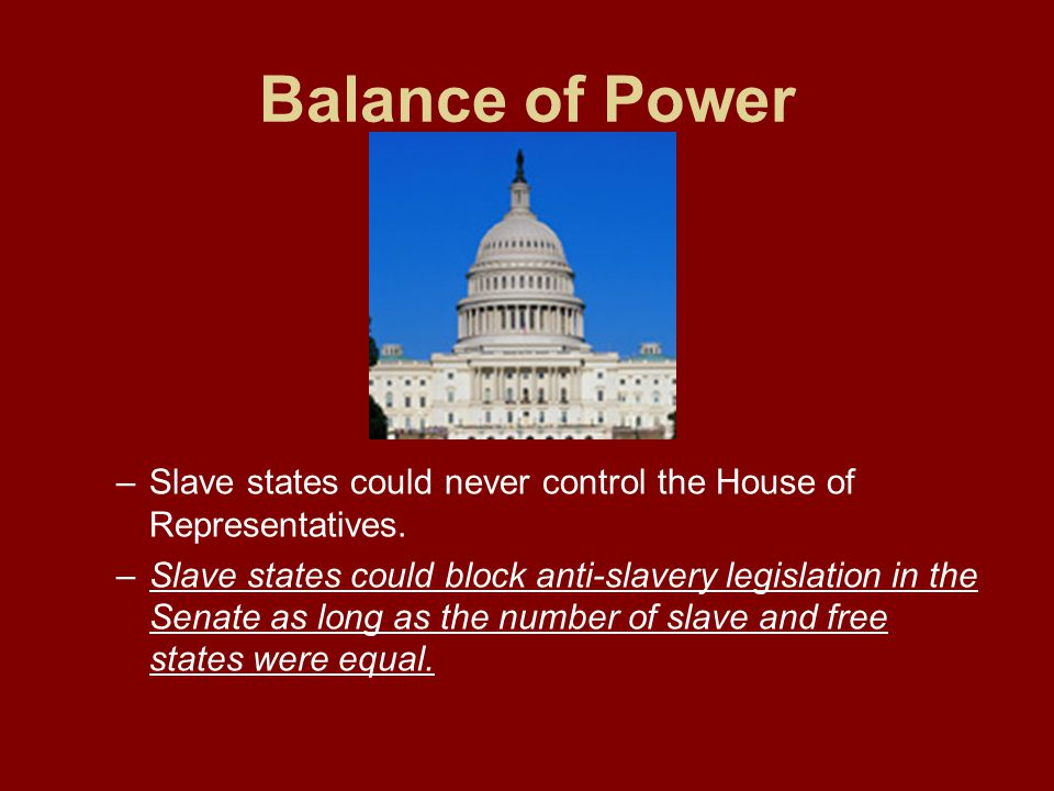 Balance of Power Slave states could never control the House of Representatives.