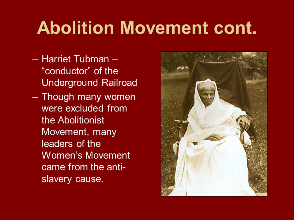 """harriet tubman and the abolitionist movement essay Harriet tubman and the fight for freedom this paper is a chance to practice making an argument of your own relying on both secondary and primary sources your main secondary source will be lois horton's """"introduction"""" to harriet tubman and the fight for freedom."""