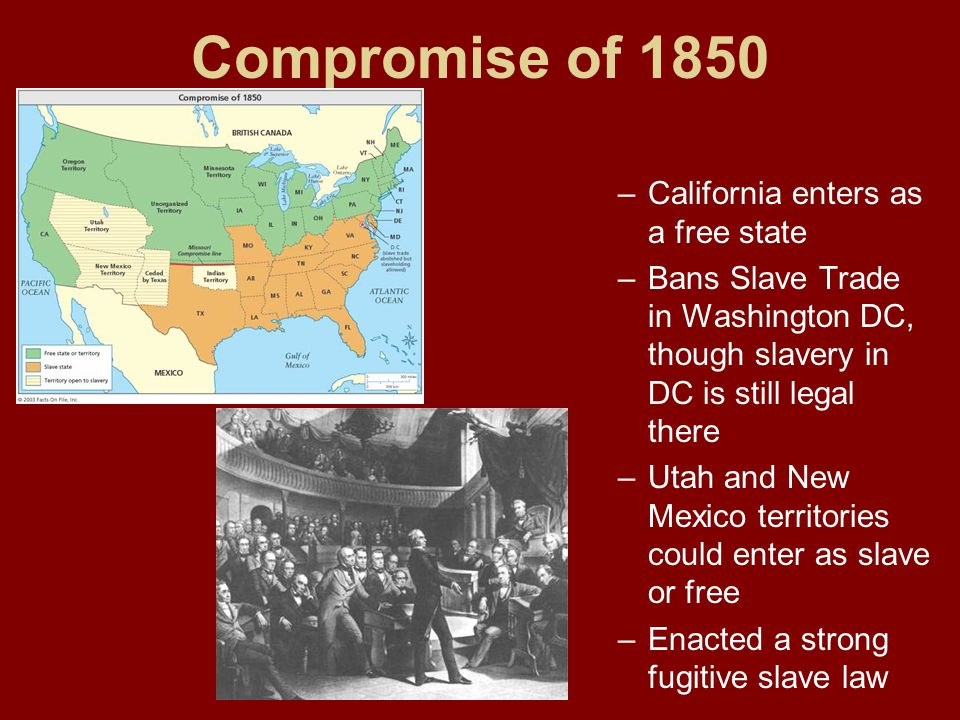 Compromise of 1850 California enters as a free state