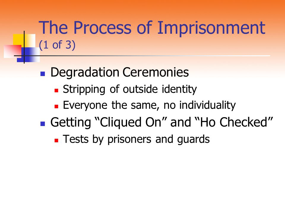 The Process of Imprisonment (1 of 3)