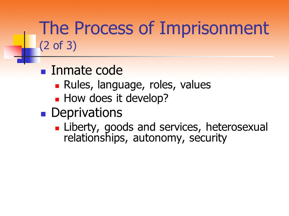 The Process of Imprisonment (2 of 3)
