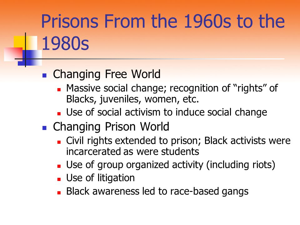 Prisons From the 1960s to the 1980s