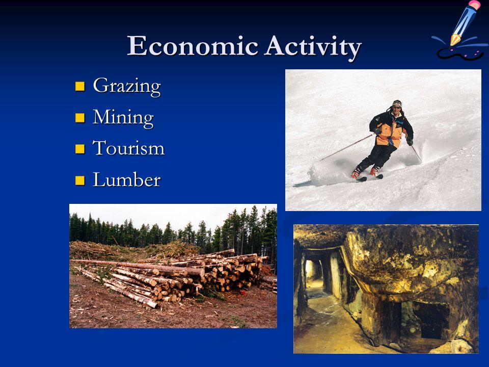 Economic Activity Grazing Mining Tourism Lumber