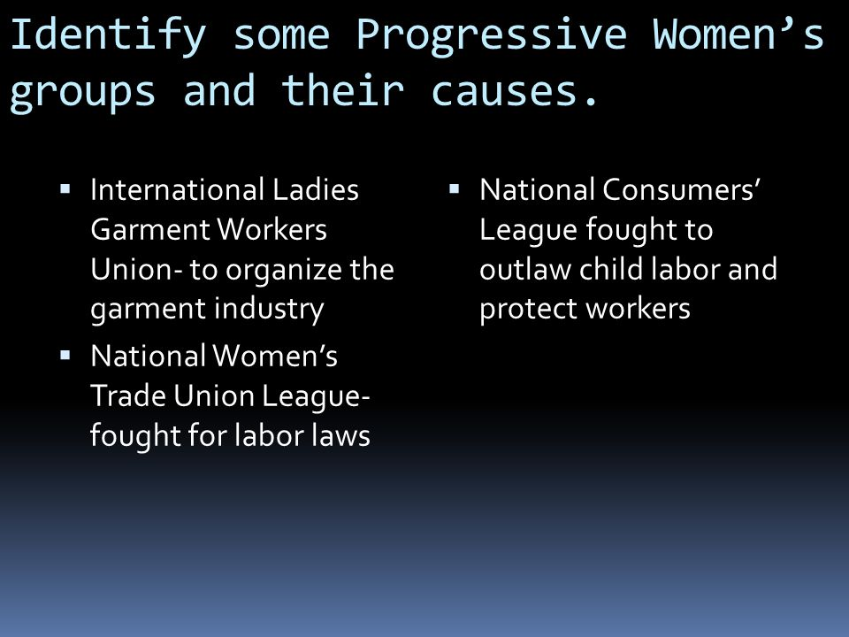 Identify some Progressive Women's groups and their causes.
