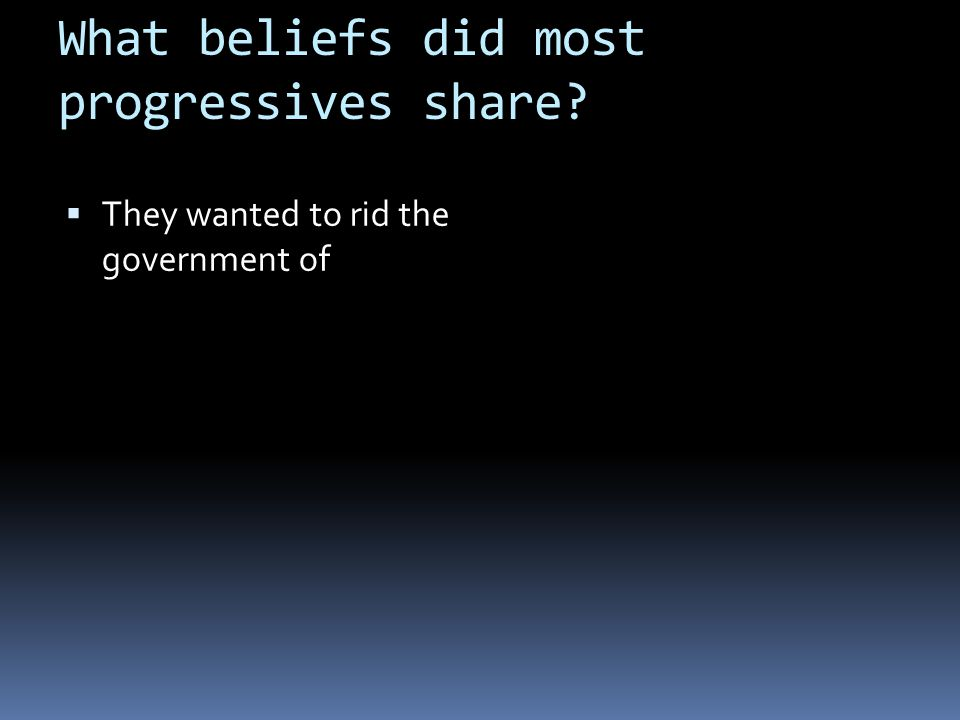 What beliefs did most progressives share