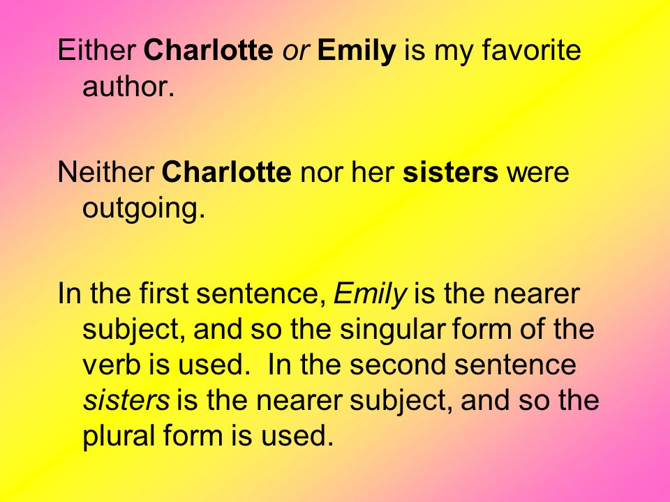 Either Charlotte or Emily is my favorite author.