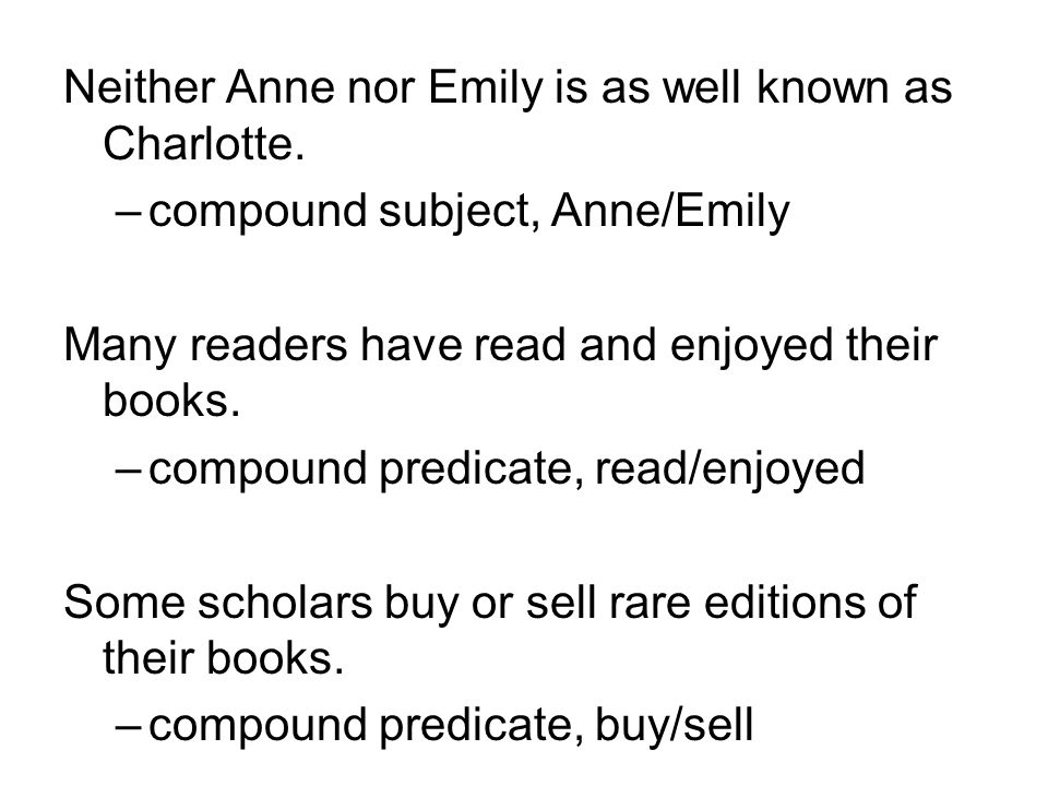 Neither Anne nor Emily is as well known as Charlotte.