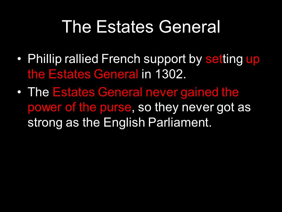 The Estates General Phillip rallied French support by setting up the Estates General in 1302.