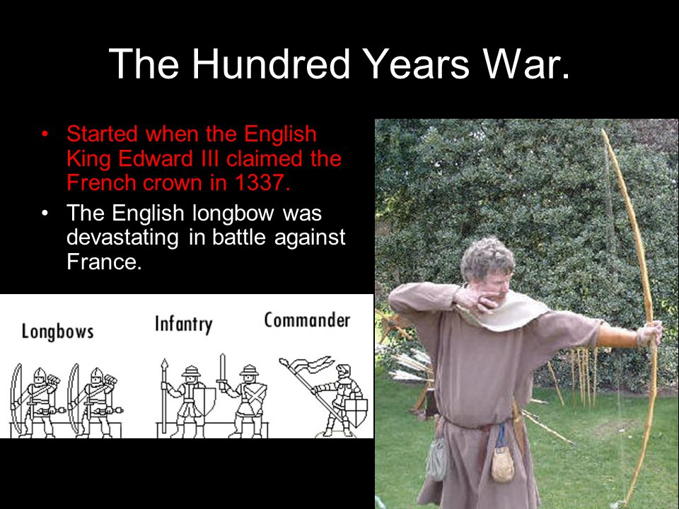The Hundred Years War. Started when the English King Edward III claimed the French crown in 1337.