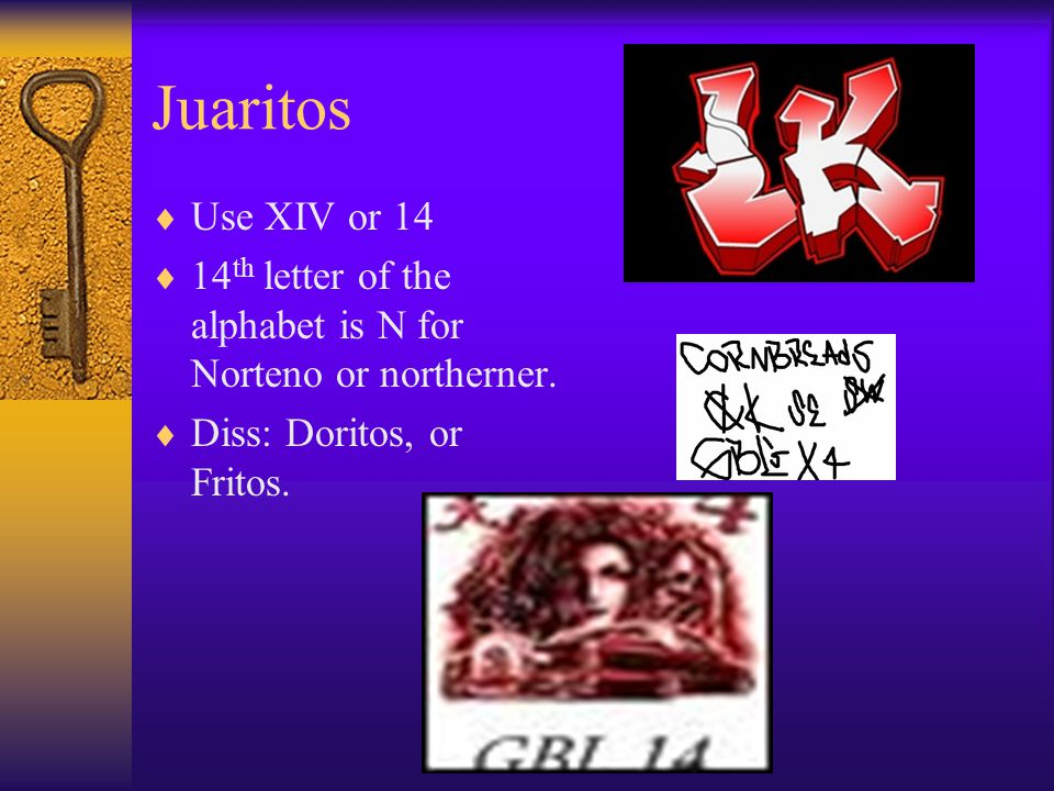 Juaritos Use XIV or 14. 14th letter of the alphabet is N for Norteno or northerner.