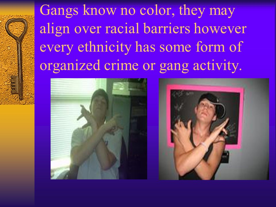Gangs know no color, they may align over racial barriers however every ethnicity has some form of organized crime or gang activity.