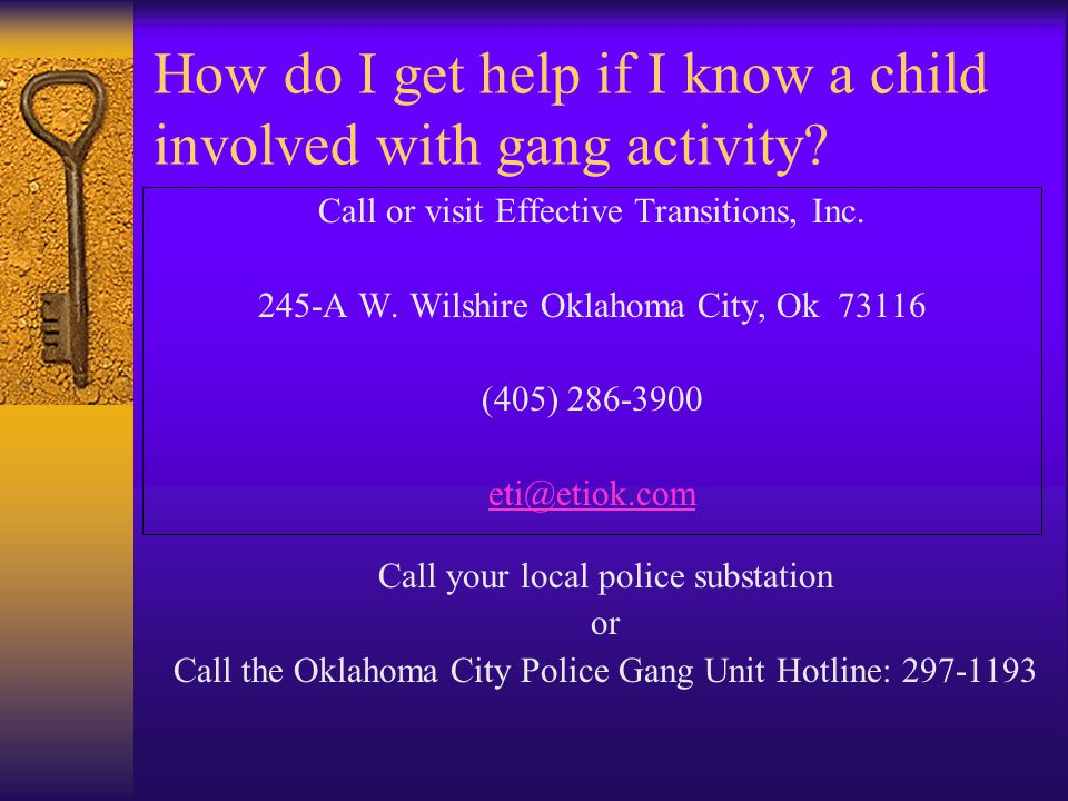 How do I get help if I know a child involved with gang activity