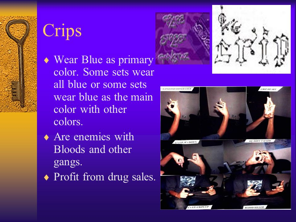 Crips Wear Blue as primary color. Some sets wear all blue or some sets wear blue as the main color with other colors.