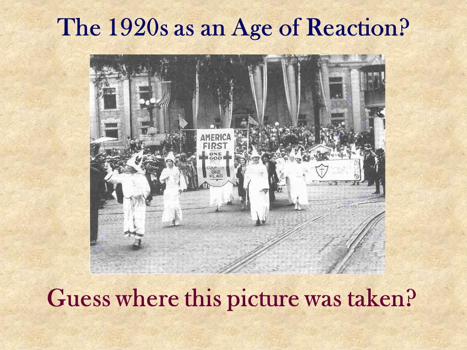 The 1920s as an Age of Reaction