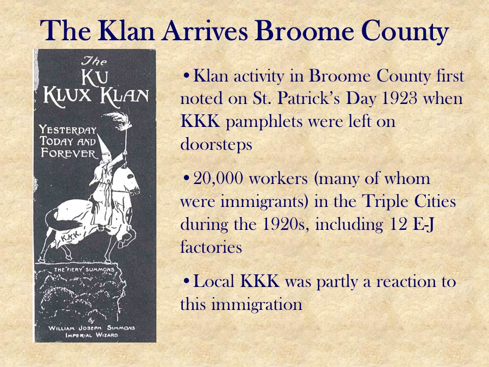 The Klan Arrives Broome County