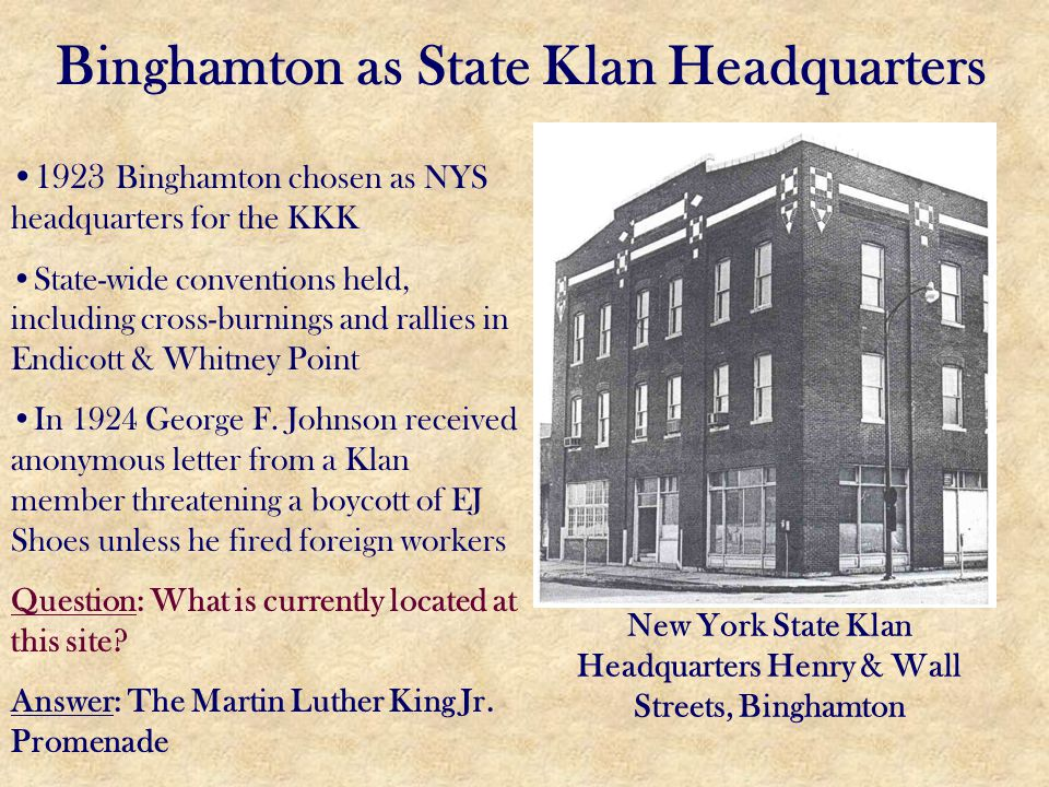 Binghamton as State Klan Headquarters